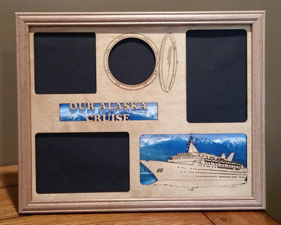 11x14 Alaska Cruise Vacation Laser Engraved Picture Frame With 4 Photo Holes Collage Unique