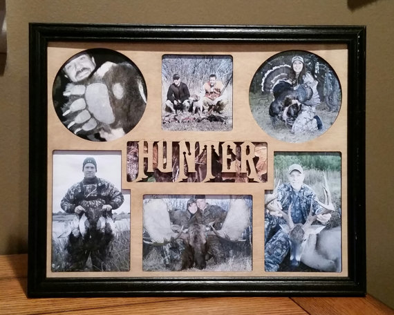 11x14 Deer Hunting And Hunter Laser Engraved Picture Frame With 6 Photo Holes Collage Unique