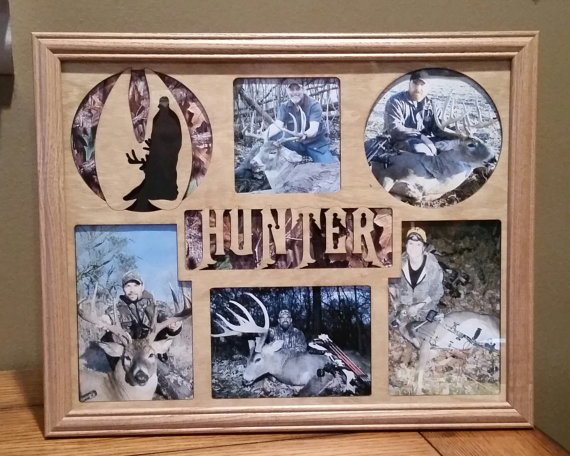 11x14 Deer Hunting Laser Engraved Picture Frame With 5 Photo Holes Collage Unique Personalizations
