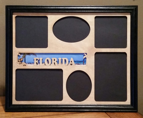 11x14 Florida Laser Engraved Picture Frame With 6 Photo Holes W