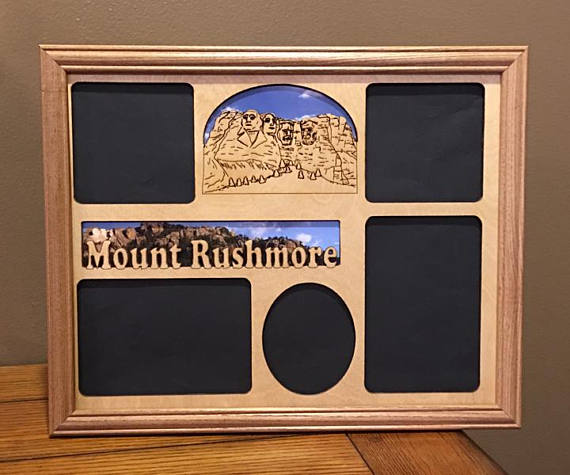 11x14 Mt Rushmore Vacation Laser Engraved Picture Frame With 5 Photo Holes Collage Unique