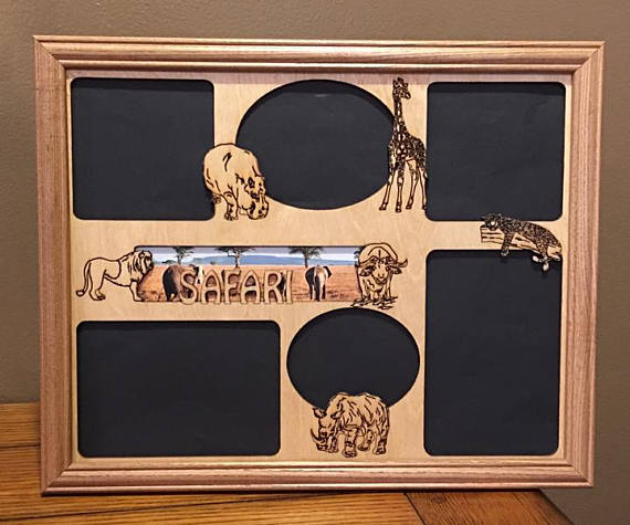 11x14 Safari Vacation Laser Engraved Picture Frame With 6 Photo Holes Collage Unique
