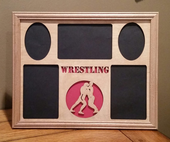 11x14 Wrestling Laser Engraved Picture Frame With 5 Photo Holes