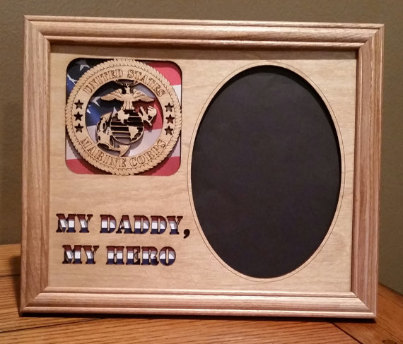 8x10 Us Marine My Daddy My Hero Laser Engraved Picture Frame With 1