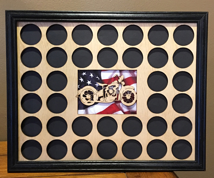 Black 11x17Live Free Ride Free Motorcycle Poker Chip Display Case with Oak Frame and Birch Mat